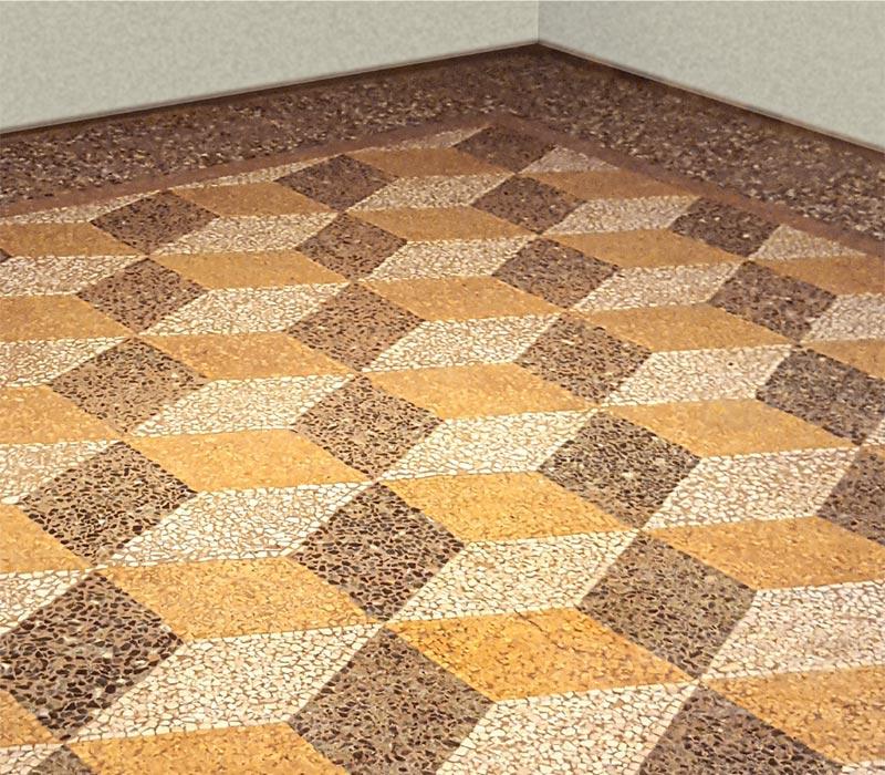 Ocra-Rossa restauro pavimento geometrico