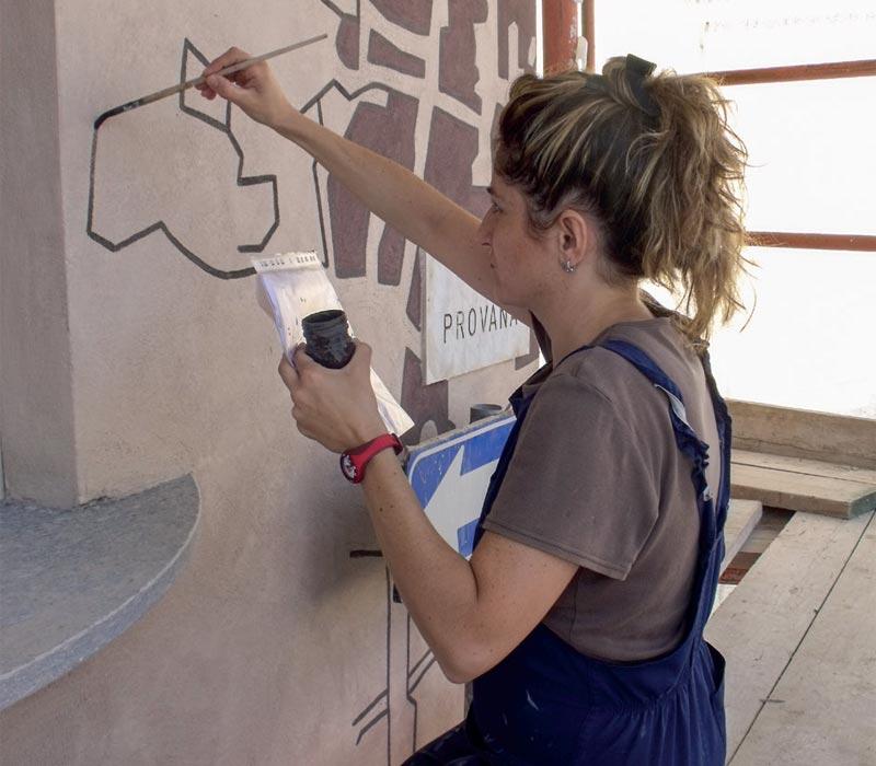 Ocra-Rossa villa Ulpiana murales