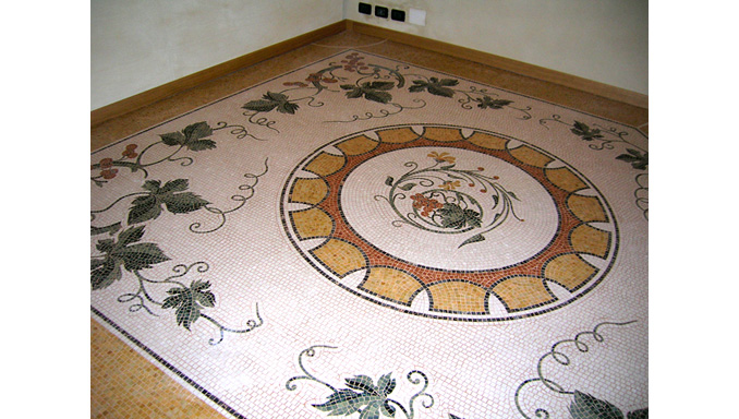 Mosaico pavimenti ocrarossa for Mosaici in marmo per pavimenti