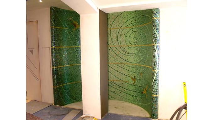 Rivestimenti mosaico doccia ocrarossa - Mosaico per bagno doccia ...